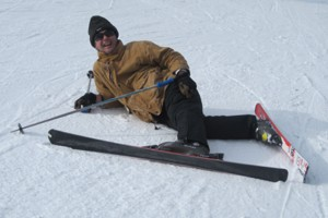 Michael J Dixon falling over on skis