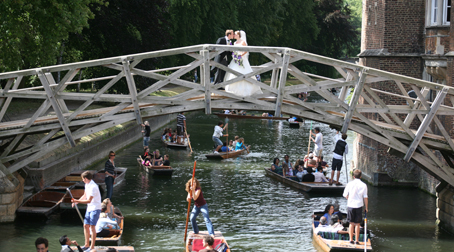 wedding couple on mathematical bridge cambridge